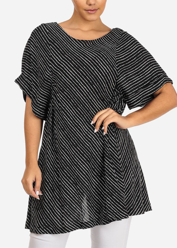 Black Stripe Top W Back Slit