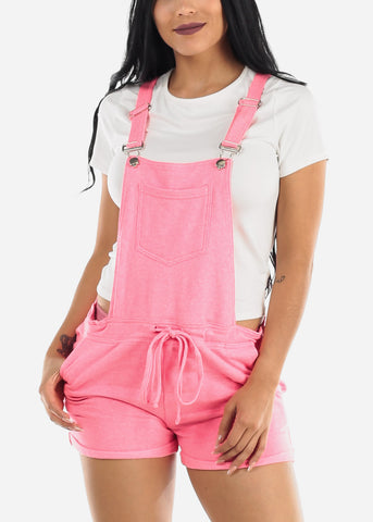 Casual Sleeveless Pink Short Overall