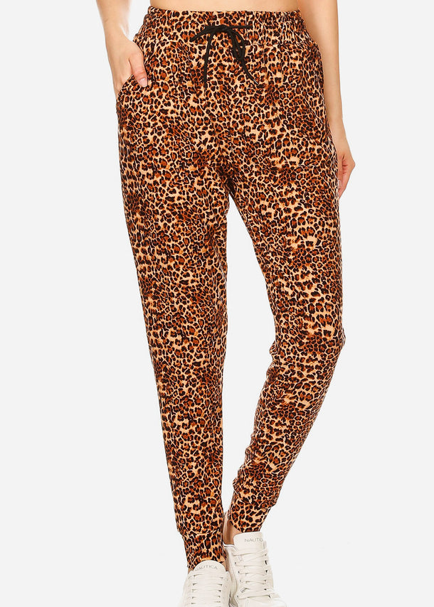 Animal Print High Waisted Jogger Pants