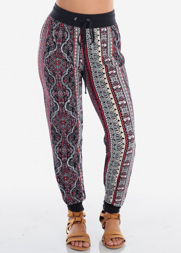 Red Abstract Print Jogger Pants