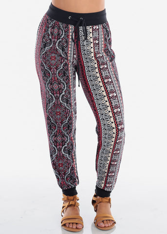 Discount Red Abstract Print Jogger Pants