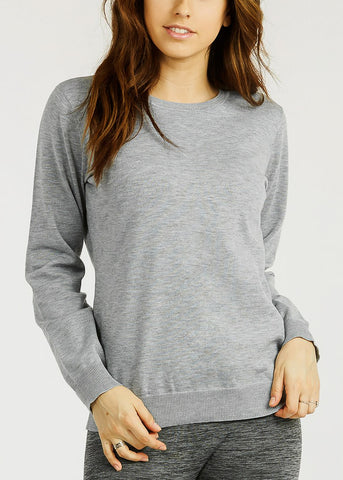 Grey Crew Neck Stretchy Sweater