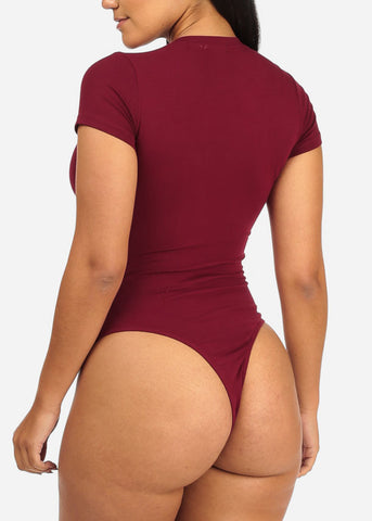 Cute Short Sleeve Burgundy Bodysuit