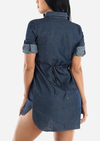 Image of Short Sleeve Dark Denim Tunic Dress