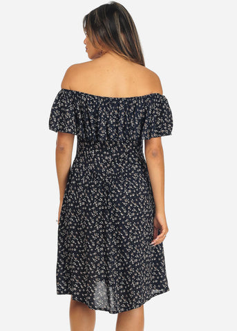 Off-Shoulder Floral Midi Dress