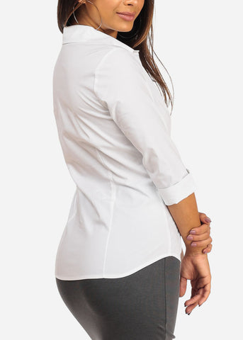 Image of Office Business Wear Button Up 3/4 Sleeve White Shirt Top