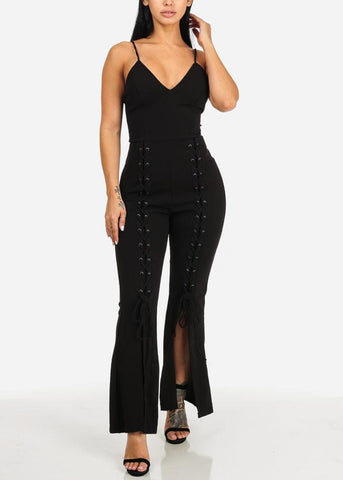 Image of Night Out Lace Up Details Black Jumpsuit