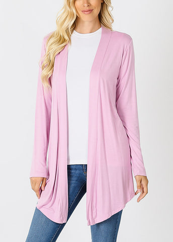 Image of Long Sleeve Open Front Mauve Cardigan