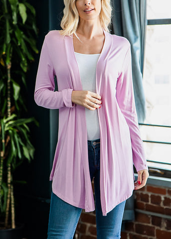 Long Sleeve Open Front Mauve Cardigan
