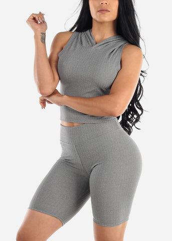 Image of Ribbed Grey Top & Bermuda Shorts (2 PCE SET)