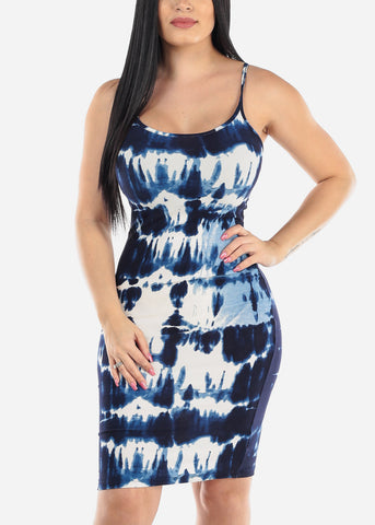 Image of Sleeveless Tie Dye Blue Dress