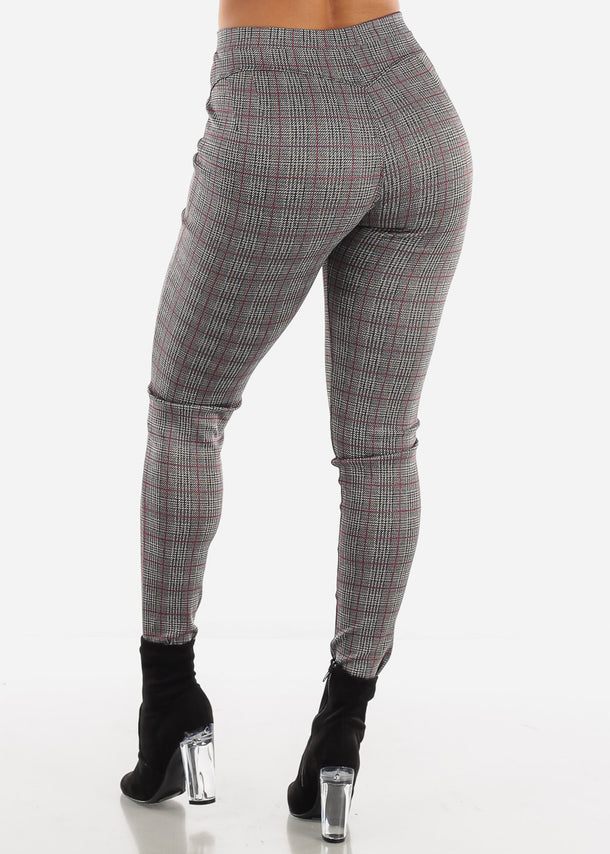 Shinny Butt Lifting Plaid Skinny Pants
