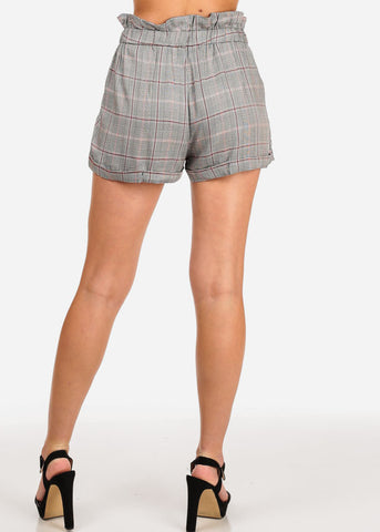 Women's Junior Going Out Beach Brunch High Waisted Plaid And Houndstooth Print Red Shorty Shorts With Tie Belt