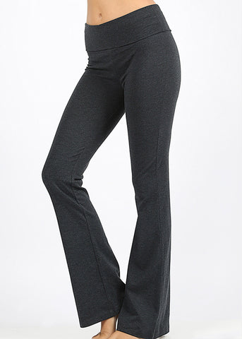 Fold Over High Rise Charcoal Yoga Pants