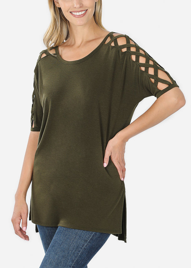Criss-Cross Shoulder Olive Tunic Top
