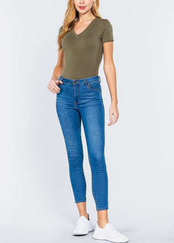 Image of V-Neck Olive Bodysuit