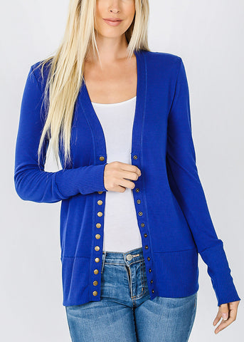 Royal Blue Snap Button Sweater Cardigan