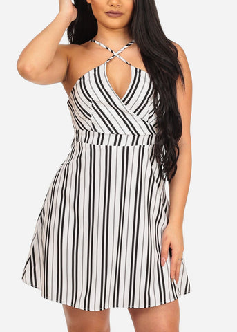 Women's Sexy Going Out White Stripe Fit And Flare Summer Spring Dress