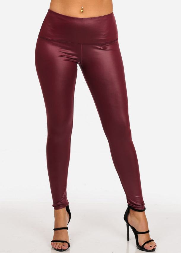 Pleather Burgundy Legging