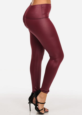 Women's Junior Ladies Sexy Stylish Pull On Faux Leather Pleather High Waisted Burgundy Legging Pants