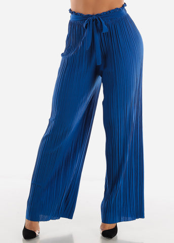 Royal Blue Pleated Wide Legged Pants
