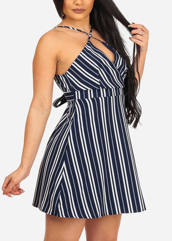 Women's Sexy Night Out Going Out Sexy Navy Stripe Above Knee Mini Dress