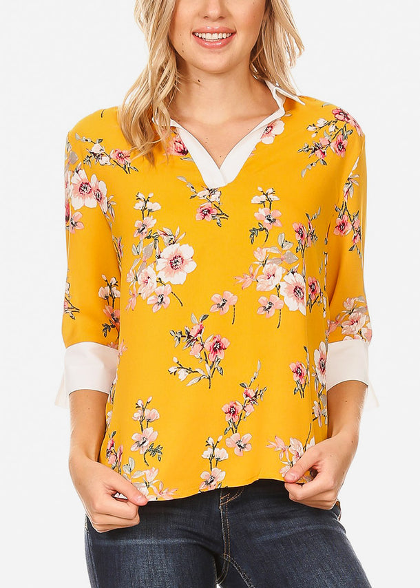 3/4 Sleeve Floral Mustard Blouse
