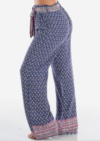 Women's Stylish Boho Lightweight Purple Printed Flare Flowy High Waisted Wide Legged Summer Pants