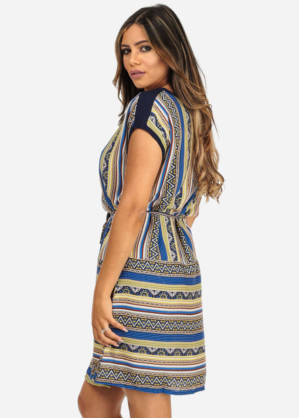Blue Boat Neck Dress