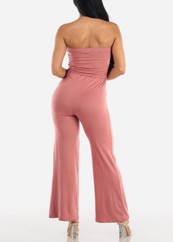 Wide Legged Strapless Mauve Jumpsuit