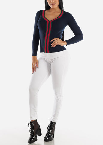 Ribbed V-Neck Navy Sweater