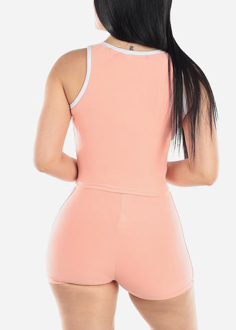Activewear Peach Top & Shorts (2 PCE SET)
