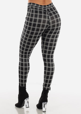Butt Lifting Black Plaid Shinny Skinny Pants