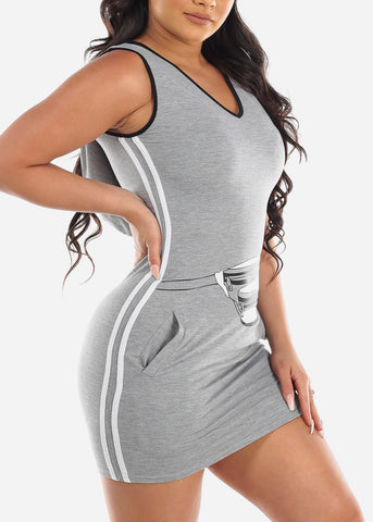 Cute Sexy Casual Hooded Side Stripe Light Grey Dress For Women Ladies Junior