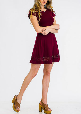 Cute Burgundy Lace Inset Mini Dress