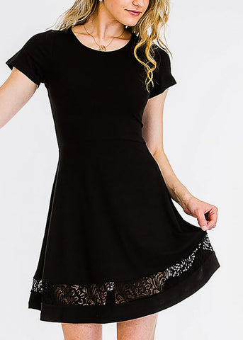 Cute Black Lace Inset Mini Dress