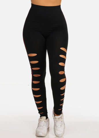 Image of Sexy Active Wear Workout Gym Distressed Cut Out Red Stripe Sides Stretchy Black Leggings
