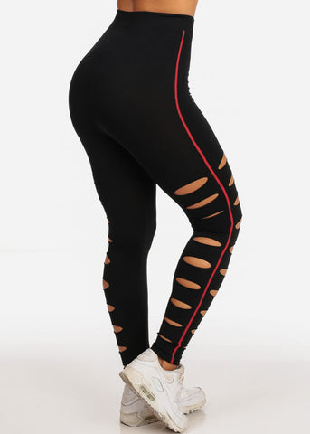 Activewear Cut Out Black Leggings