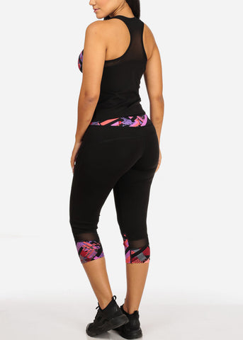 Activewear Multicolor Mesh Detail Sleeveless Top And High Rise Leggings (2PCE SET)