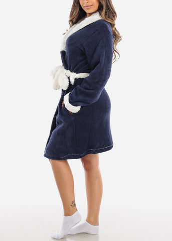 Navy & White Fleece Robe