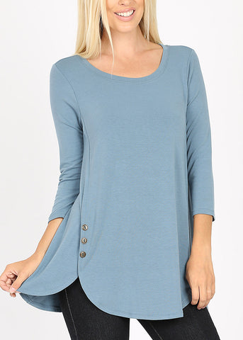 Casual Buttons Front Blue Tunic Top