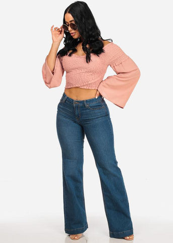 Mauve Off Shoulder Crop Top