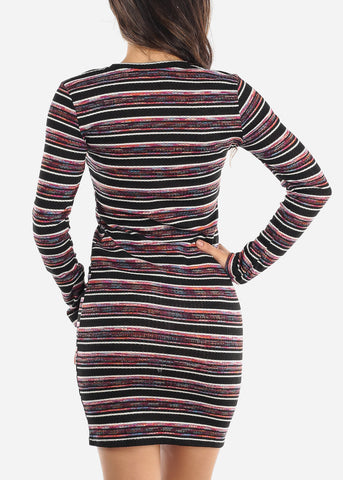Image of Multicolor Long Sleeve Bodycon Dress