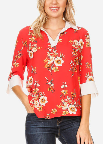 3/4 Sleeve Floral Coral Blouse