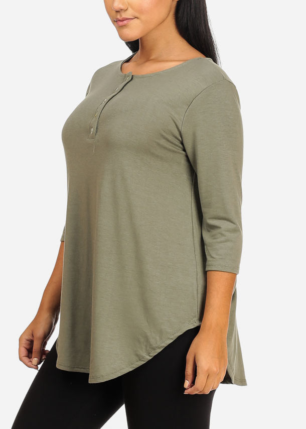 Stretchy Button Up Light Olive Top