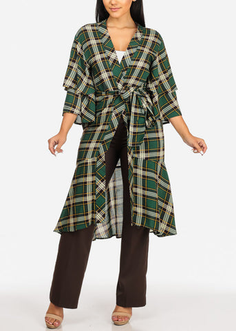 Green Plaid Print Maxi Cardigan