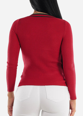 Long Sleeve Ribbed Red Sweater