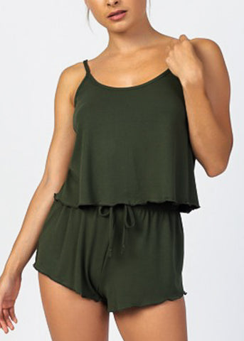 Olive Crop Tank Top & Shorts (2 PCE SET)