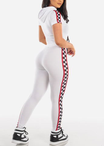 Sexy Short Sleeve Sporty Look White And Red Sport Suit Tracksuit Trouser Two Piece Set For Women Ladies Junior