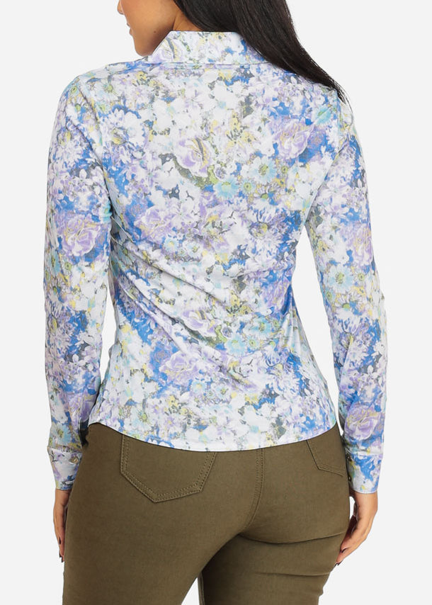 See Through Aqua Floral Top